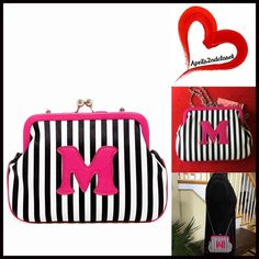 """❗️1-HOUR SALE❗️CROSSBODY Clutch Mini 'M' Bag 💟NEW WITH TAGS💟   Striped Clutch Mini Crossbody Bag Oversized Clutch    * Allover striped print w/an M initial detail  * Single chain shoulder strap & kiss lock closure  * 1 interior wall card slot  * Approx.6""""H x 8""""W x 1"""" D  * Approx. a 23"""" strap  * Semi Firm structure bag Material: PU exterior & polyester lining Color:Pink  Multi Saddle neon 🚫No Trades🚫 ✅ Offers Considered*/Bundle Discounts✅ *Please use the 'offer' button to submit your best…"""