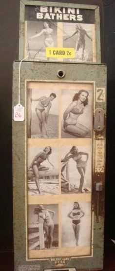 Early vending machine ....movie star pinup trading cards. 2 cents each.