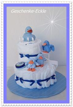Windeltorte Enten Familie Windeltorte blau von Geschenke-Eckle auf DaWanda.com
