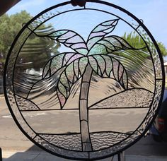 So beautiful! Iridescent Palm Tree Stained Glass Window Panel (We do custom work! Please email me for a quick quote) Artglass Leaded  Art