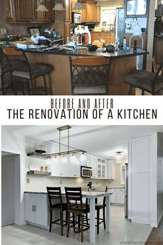 Kitchen Renovation: tired traditional becomes bright and classic mid-century. White cabinets, gold accents, marble and subway tile sets the trend for this hearth of home. Living Room Kitchen, Kitchen Decor, Kitchen Design, Living Rooms, Kitchen Remodel, Kitchen Renovations, Farmhouse Style Kitchen, Subway Tile, White Cabinets