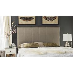 Recreating the look of sleek Hollywood glamour, this luxurious smoke queen headboard is upholstered in sensuous linen textured fabric.