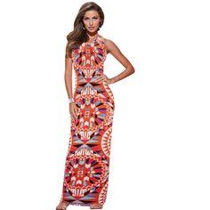 Women Summer Maxi Dress Bodycon Party Dresses Plus Size Printed Vestidos Sexy  Sundress Sleeveless Dashiki Boho Long Dress HY074 a36b490424d1