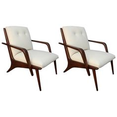 Pair Of Scapinelli Brazilian Armchairs  MidCentury  Modern, Leather, Wood, Armchair by Adesso Eclectic Imports