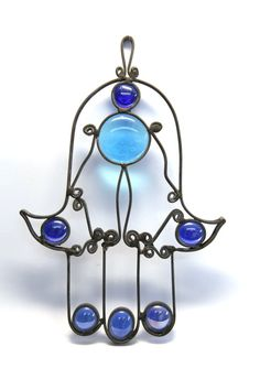 Blue Staind Glass, Hamsa, judaica art, Wall Decor, Handmade, $35