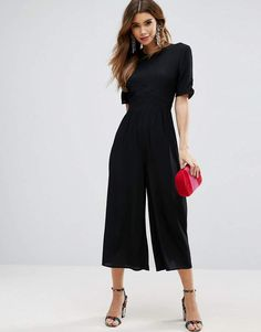 ASOS Tea Jumpsuit with Ruched Sleeve Detail