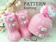 Knitting PATTERN Baby Shoes Baby Booties Baby Hat Baby Beanie Kids Knitting Patterns, Baby Hats Knitting, Knitting Blogs, Pattern Baby, Baby Girl Patterns, Knit Baby Shoes, Baby Booties, Baby Set, Baby Boys