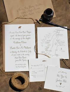 rustic jackson hole wedding invitation via www.design-roots.net