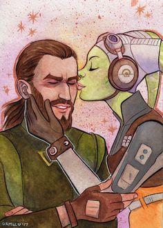 Romance on Star Wars Rebels Sw Rebels, Star Wars Rebels, Kanan And Hera, Star Wars Ships, Star Wars Fan Art, The Force Is Strong, Galaxy Art, Love Stars, Clone Wars