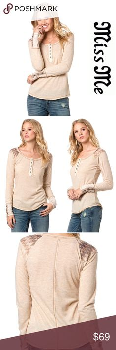 "SOLD Look haute in this Henley style top, detailed with chevron pattern inserts with button detail on cuffs, contrast top stitching, and button closure at neckline. Measures pit to pit 17""/ length 25"". Made of 80% polyester/20% Rayon Miss Me Tops"