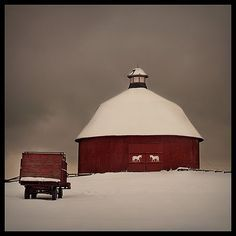 such tranquility...white snow on the bright red barn such a great combination!!! J. Poppen