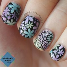 Nailpolis Museum of Nail Art | Floral stamping by Karise Tan