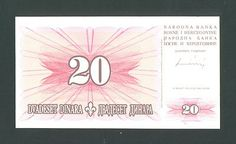 BOSNIA, 20 Dinara 15-8-1994 UNC P42a It is highly sought by collectors ! Rare! http://www.ebay.com/itm/BOSNIA-20-Dinara-15-8-1994-UNC-P42a-highly-sought-collectors-Rare-/160774957472?pt=Paper_Money&hash=item256eef29a0