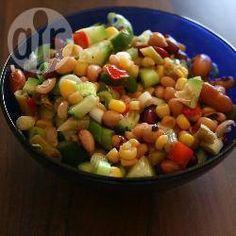 Mixed Bean Salad With Salad, Cucumber, Spring Onions, Salt, Lemon Juice Mixed Bean Salad Recipes, Vegan Gluten Free, Vegan Vegetarian, Good Meals To Cook, Cooking On A Budget, Grilled Meat, Fruit Salad, Cucumber, Good Food