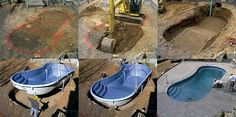 are the steps that go into building a beautiful and professionally installed fiberglass pool. Fiberglass Swimming Pools, Diy Pool, Small Backyard Pools, Small Pools, Swimming Pools Backyard, Swimming Pool Designs, Pool Spa, Pool Landscaping, Fiberglass Pool Prices