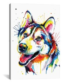 This Husky Watercolor Wrapped Canvas is perfect! #zulilyfinds