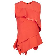 Narciso Rodriguez Ruffle blouse ❤ liked on Polyvore featuring tops, blouses, narciso rodriguez, red top, flounce blouse, frilly blouse and red ruffle blouse