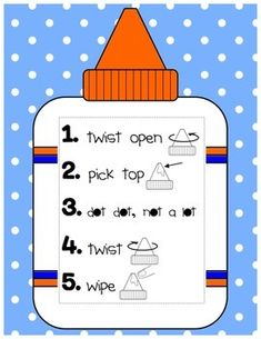Glue Anchor Chart- Glue Bottle Rules Anchor Chart WITH Companion Student-Sized Anchor Chart