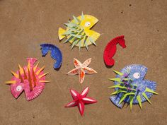Blowfish, seahorse, and starfish.  All made out of a paper plate.