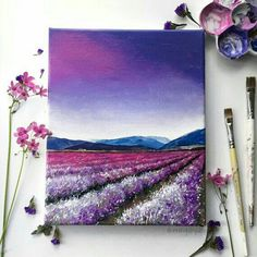 Field Acrylic Painting Art Print Purple Flower Field, Purple Sunset Sky Acrylic painting art print of a purple lavender field under a colorful sky. Print is size painting art print of a purple lavender field under a colorful sky. Print is size Simple Acrylic Paintings, Acrylic Art, Art Paintings, Acrylic Painting Inspiration, Acrylic Painting On Paper, Portrait Paintings, Acrylic Sky Painting, Canvas Painting Designs, Acrilic Paintings