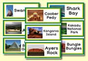 Flash cards of locations in Australia
