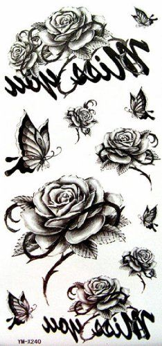 BIGWORDS.com   SPESTYLE waterproof non-toxic temporary tattoo stickersWaterproof temp tattoos black flowers and flower / butterfly