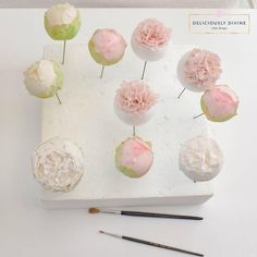 Making sugar flowers one petal at a time. Peonies and more. Sugar Paste Flowers, Wafer Paper Flowers, Candy Flowers, Fondant Flower Cake, Fondant Rose, Fondant Baby, Fondant Cakes, Fondant Decorations, Cake Business