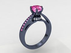 Solitaire Swarovsky Sapphire Pink Rounds by PiettroJewelry on Etsy, $535.00