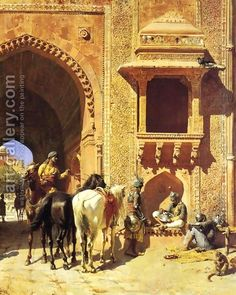 Gate Of The Fortress At Agra India - Edwin Lord Weeks - Oil Painting Reproductions Carl Spitzweg, Jean Leon, Empire Ottoman, India Painting, Painting Art, Art Paintings, Arabian Art, Ludwig, Historical Art