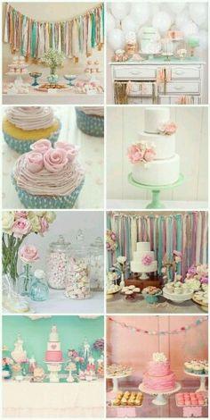 Pastel Vintage Dessert Table for Kyla Fiesta Shower, Shower Party, Bridal Shower, Shower Cake, 1st Birthday Parties, Girl Birthday, Birthday Ideas, 17th Birthday, Girl Shower