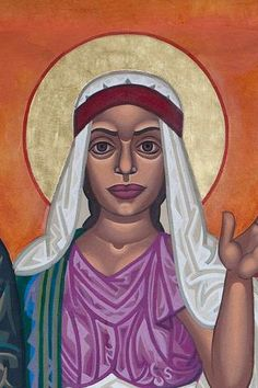 """Mary Magdalene: (1st century) """"The apostle to the Apostles."""" When the other disciples fled, she stayed with Jesus through his crucifixion, and was the first he appeared to after his resurrection and the one he sent to proclaim it. She is unusual among biblical women in that she is never identified by her relationship to a male figure (""""Mary the wife of"""" or """"Mary the mother of"""") but only as """"Mary of Magdala."""" We remember her as a person and disciple in her own right. (July 22)"""