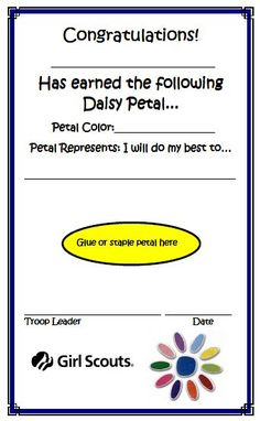 Girl Scout Daisy Mom: Petal Independent Study Packs - Great idea for Daisies who are moving up soon but have not earned all their patches Girl Scout Leader, Girl Scout Troop, Boy Scouts, Girl Scout Daisy Petals, Daisy Girl Scouts, Girl Scout Daisy Activities, Girl Scout Crafts, Girl Scouts Of America, For Elise