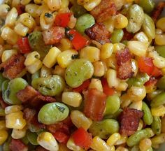Succotash with Bacon and Vinegar - Happier Than A Pig In Mud 4 slices of bacon 3 C frozen baby lima beans, thawed and patted dry 2 C frozen corn, thawed and patted dry 1 (4 oz) jar diced pimentos, drained 1 Tblsp dried parsley 3 Tblsp cider vinegar 1 tsp sugar S&P to taste