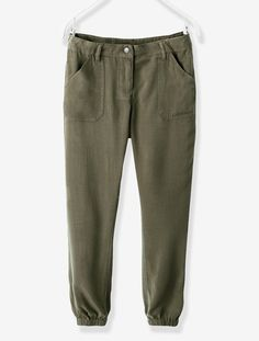 Pantalon fille fluide Kaki grisé+Mauve - vertbaudet enfant
