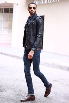 Skinny jeans and leather jacket!