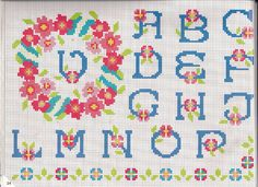alfabeto rose con ghirlanda