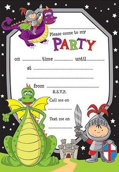 Knights & Dragons Party Invitations