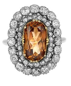 Antique Silver, Gold, Topaz and Diamond Ring