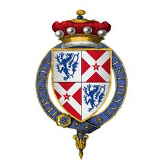 Arms of Sir William Nevill, 6th Baron Fauconberg, at the time of his installation into the Most Noble Order of the Garter, KG. Became Earl of Kent; was brother to Cecily, Duchess of York. A Lancastrian until the Battle of St. Albans. Switched to York, as he was his brother-in-law.