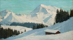 Charles-Henri Contencin (1898 - 1955) The Albristhorn seen from above Zweisimmen near Gstaad, Bernese Oberland  oil on panel, signed