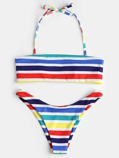 Colorful Stripe Halter Lace-Up Bikini Swimsuits
