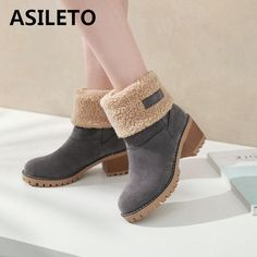 eefe77b53a98 ASILETO Brand Women Boots Female Winter Shoes Woman Fur Warm Snow Boots  Square heels bota feminina