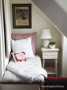 I dream of a reading nook like this one in the 1847 New Hampshire farmhouse of Nancy Ross.