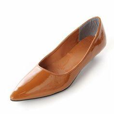 Amazon.co.jp: カッターパンプス ローヒール ポインテッドトゥ エナメル ぺたんこ靴 103859: Amazonファッション