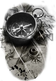 Surprising the compass - the phrase was useless, because of the difficulty of finding directions . - The Surprise Compass statement has become useless, is it because of the difficulty of finding direc - Lion Tattoo Sleeves, Full Sleeve Tattoos, Tattoo Sleeve Designs, Map Tattoos, Celtic Tattoos, Body Art Tattoos, Clock Tattoos, Tattoo Symbols, Tattoo Drawings