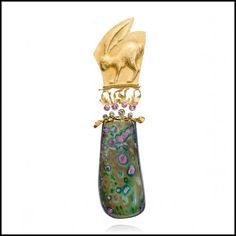 Run Rabbit Run Brooch, by Linda Kindler Priest Repoussé Jewelry. Via lkindlerpriest.com