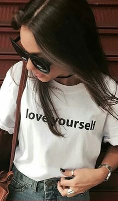 e67c834c69ebc6 Love youself t shirt tumblr tops Black white #self #selfie #tshirtdesign  #girl