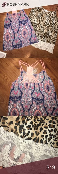 Charming Charlie Dressy Tank Bundle Gorgeous detailing on both tanks! Beautiful condition!! Charming Charlie Tops Tank Tops