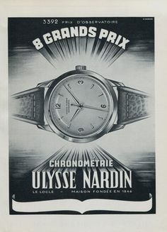 1951 Ulysse Nardin Modern Watches, Luxury Watches, Vintage Watches, Watches For Men, Ulysse Nardin, Watch Drawing, Le Locle, Art Deco Watch, Watch Ad