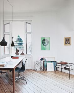 modern/vintage workspace with great pendant lights